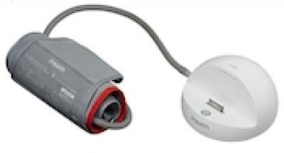 Her ses blodtryksmåleren BP3 fra iHealth, som har en iPod-dock i den anden ende af ledningen.